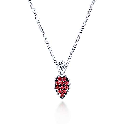 14K White Gold Teardrop Pendant Necklace with Rubies and Diamonds