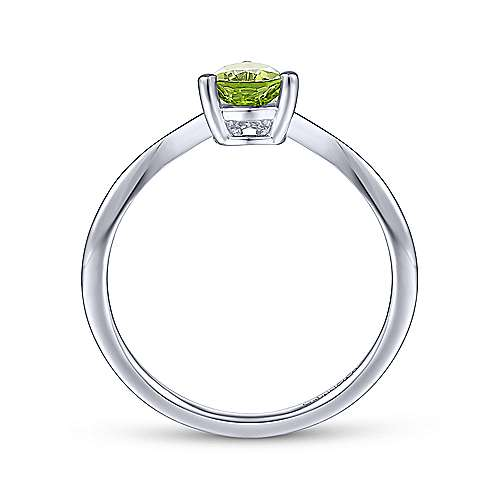 14K White Gold Teardrop Peridot and Diamond Chevron Ring