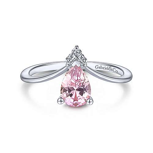14K White Gold Teardrop Pink Created Zircon and Diamond Ring