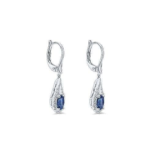 14K White Gold Teardrop Sapphire and Diamond Drop Earrings