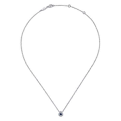 14K White Gold Teardrop Sapphire and Diamond Halo Pendant Necklace