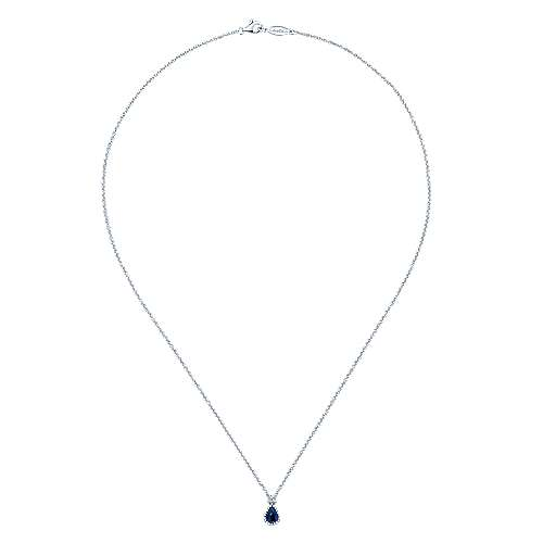 14K White Gold Teardrop Sapphire and Diamond Pendant Necklace
