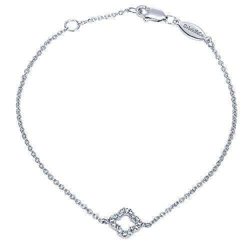 14K White Gold Tennis Bracelet with Diamond Clover Charm