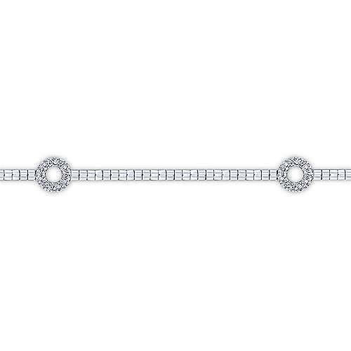 14K White Gold Tennis Bracelet with Open Circle Diamond Stations