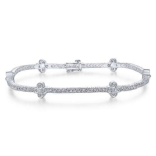 14K White Gold Tennis Bracelet with Quatrefoil Diamond Stations