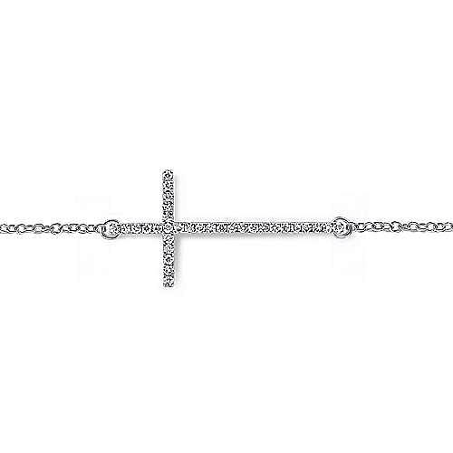 14K White Gold Tennis Bracelet with Thin Diamond Cross