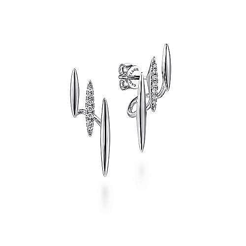 14K White Gold Three Bar Diamond Stud Earrings