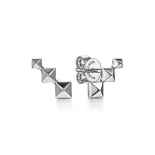 14K White Gold Three Pyramid Stud Earrings