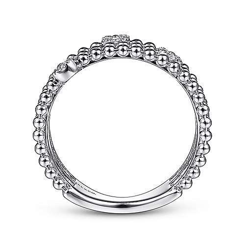 14K White Gold Three Row Beaded Ring with Pavé Diamond Cluster Stations