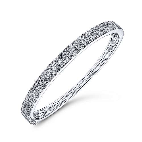 14K White Gold Three Row Diamond Bangle