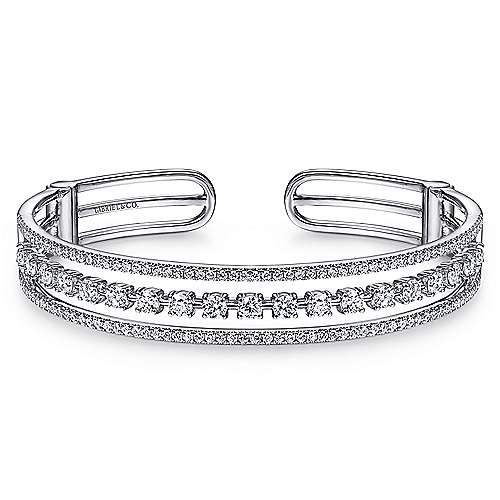 14K White Gold Three Row Diamond Cuff Bracelet