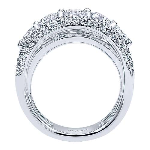 14K White Gold Three Row Diamond Ring