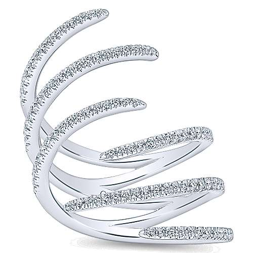 14K White Gold Three Row Diamond Statement Ring