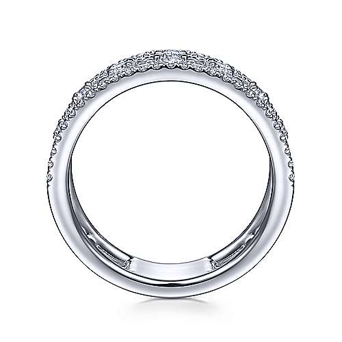 14K White Gold Three Row Diamond Station Ring