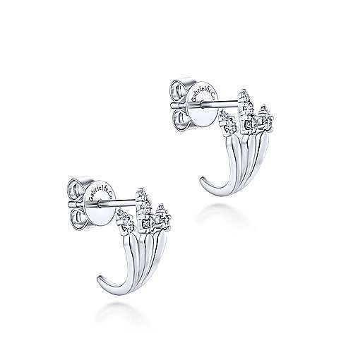 14K White Gold Three Row Diamond Tip Stud Earrings
