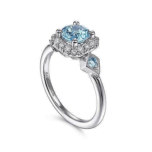 14K White Gold Three Stone Blue Topaz and Diamond Halo Ring