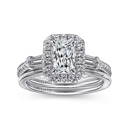 14K White Gold Three Stone Halo Emerald Cut Diamond Engagement Ring