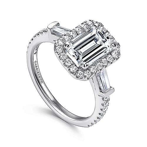 14K White Gold Three Stone Halo Emerald Cut Diamond Engagement Ring