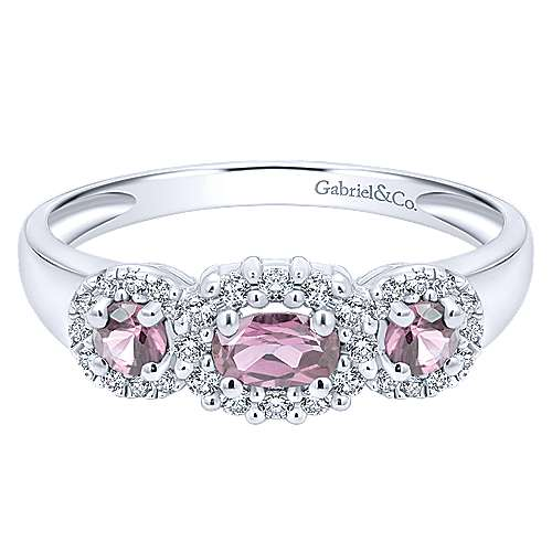 14K White Gold Three Stone Halo Pink Sapphire and Diamond Ring