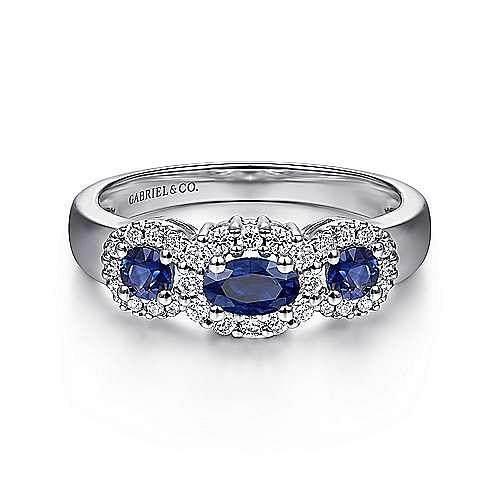 14K White Gold Three Stone Halo Sapphire and Diamond Ring