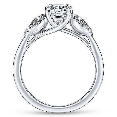 14K White Gold Three Stone Round Diamond Engagement Ring