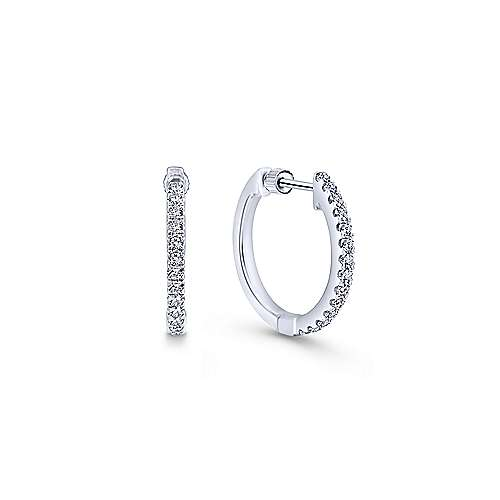 Gabriel - 14K White Gold Tiger Claw Set (0.54ct.) 15mm Round Classic Diamond Hoop Earrings