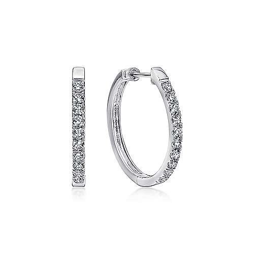 Gabriel - 14K White Gold Tiger Claw Set (1.04ct.) 25mm Round Classic Diamond Hoop Earrings