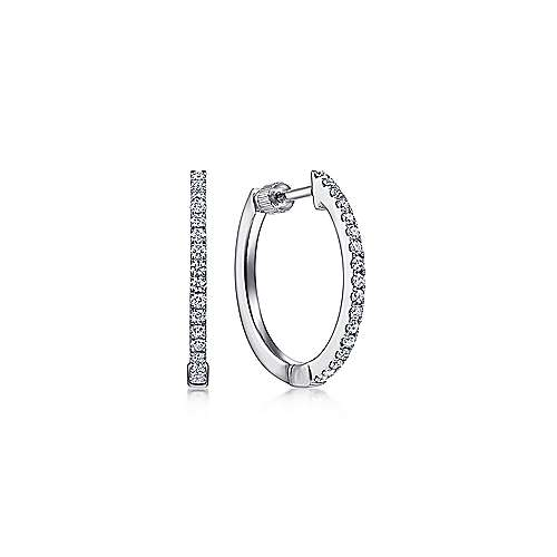 Gabriel - 14K White Gold Tiger Claw Set 15mm Round Classic Diamond Hoop Earrings