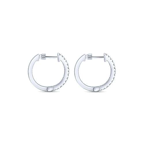 14K White Gold Tiger Claw Set 15mm Round Huggie Earrings