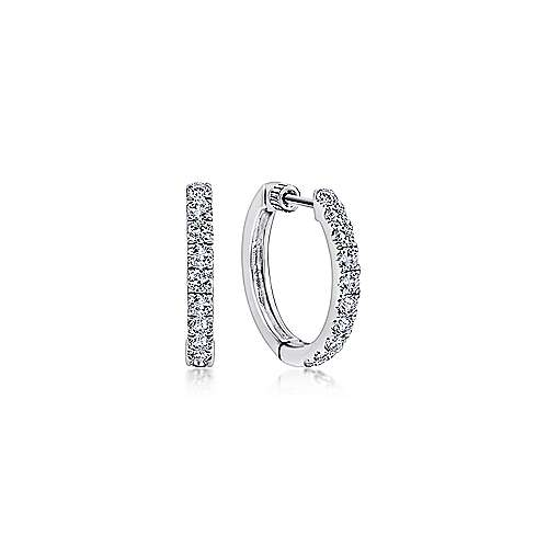 Gabriel - 14K White Gold Tiger Claw Set (1ct.) 15mm Round Classic Diamond Hoop Earrings