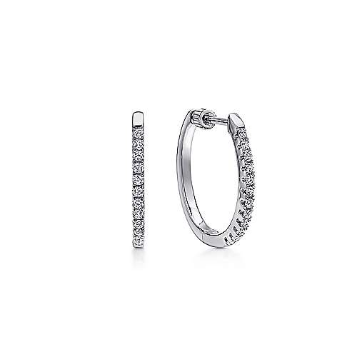 14K White Gold Tiger Claw Set 20mm Oval Classic Diamond Hoop Earrings