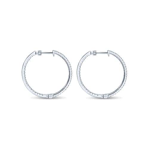 14K White Gold Tiger Claw Set 30mm Round Inside Out Diamond Hoop Earrings