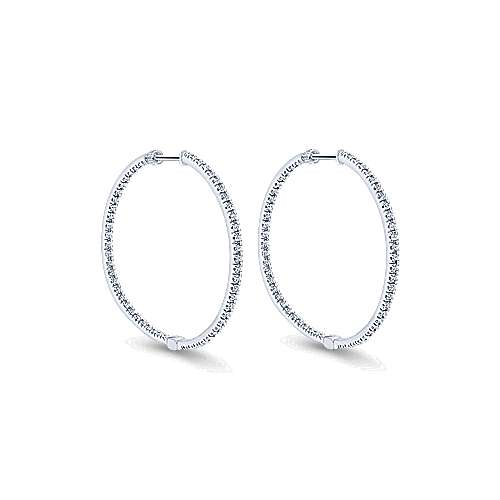 14K White Gold Tiger Claw Set 35mm Round Inside Out Diamond Hoop Earrings