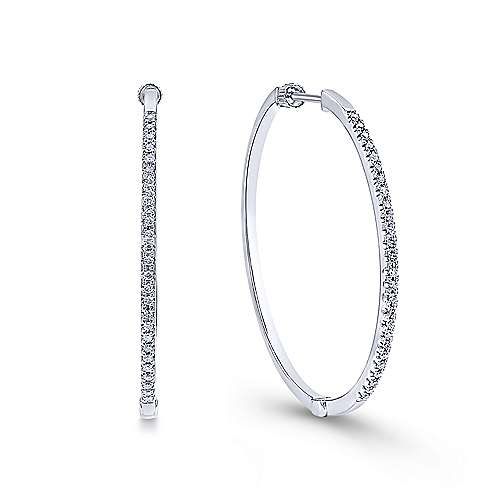 Gabriel - 14K White Gold Tiger Claw Set 40mm Round Classic Diamond Hoop Earrings