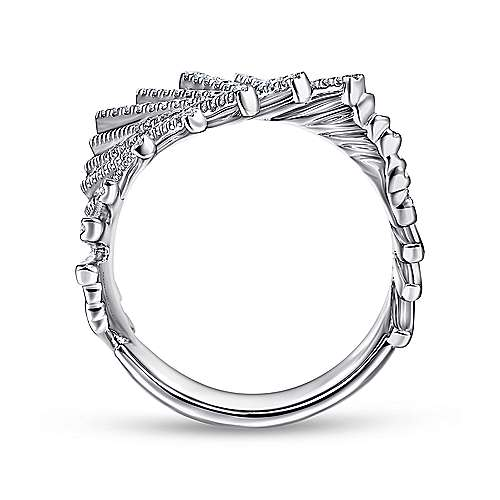 14K White Gold Tilted Diamond Bars Statement Ring