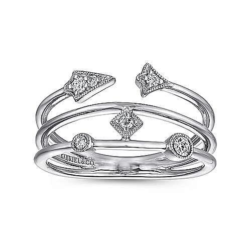 14K White Gold Tri Band Diamond Station Ring