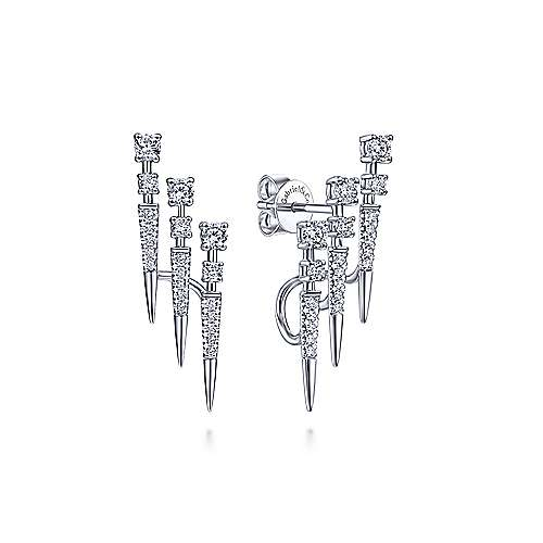 14K White Gold Triple Bar Diamond Stud Earrings