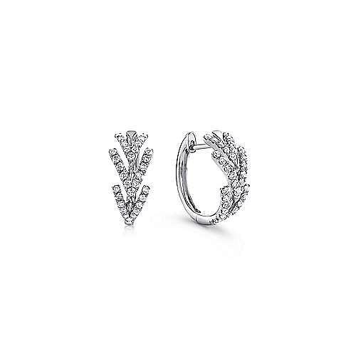 14K White Gold Triple Chevron 15mm Diamond Huggie Earrings