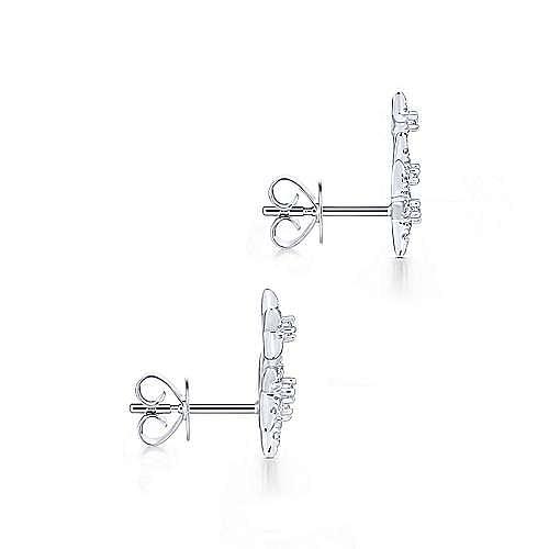 14K White Gold Triple Graduating Stars Diamond Stud Earrings