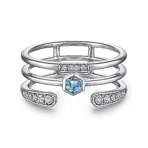 14K White Gold Triple Row Diamond and Blue Topaz Ring