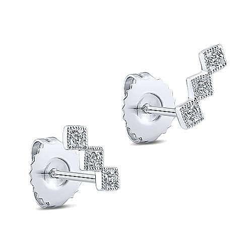 14K White Gold Triple Square Station Diamond Stud Earrings