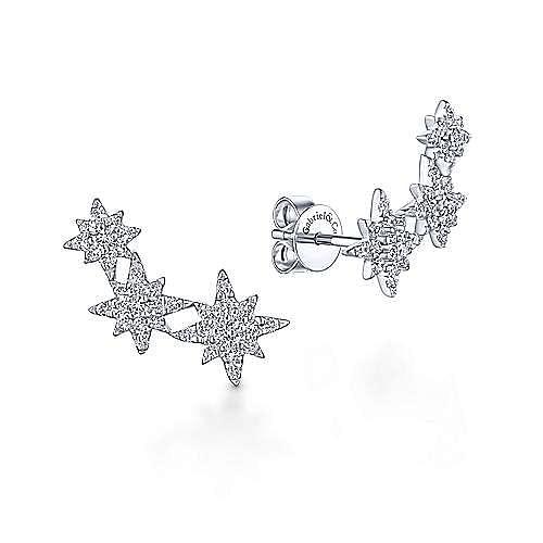 14K White Gold Triple Star Curved Stud Diamond Earrings