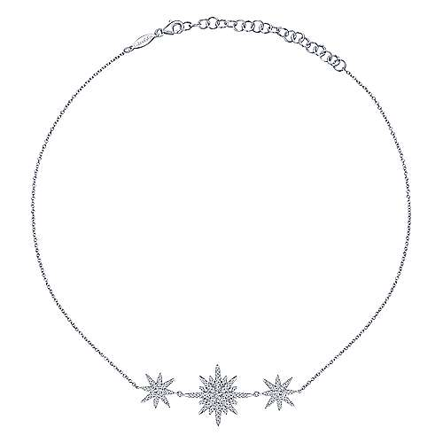 14K White Gold Triple Starburst Diamond Choker Necklace