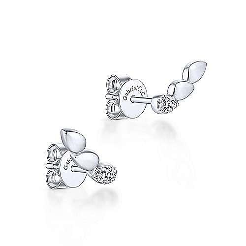 14K White Gold Triple Teardrop Station Curved Stud Diamond Earrings