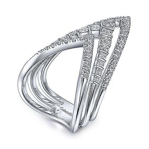 14K White Gold Triple V Diamond Statement Ring