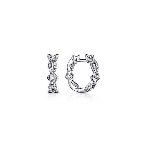14K White Gold Twisted 10mm Diamond Huggies