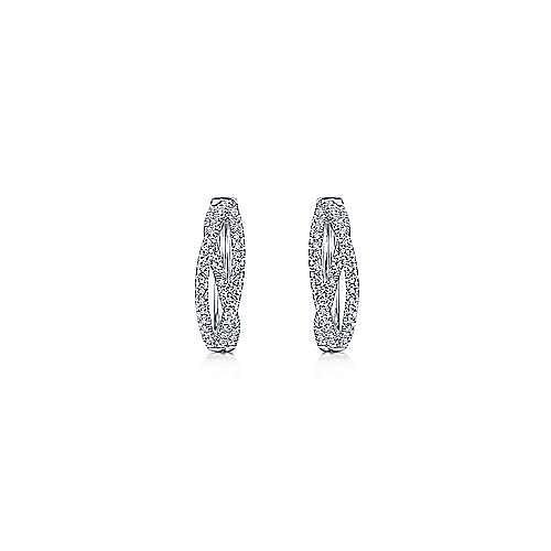 14K White Gold Twisted 15mm Diamond Huggie Earrings
