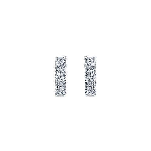 14K White Gold Twisted 15mm Diamond Huggies