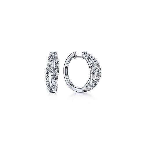14K White Gold Twisted 15mm Diamond Huggies