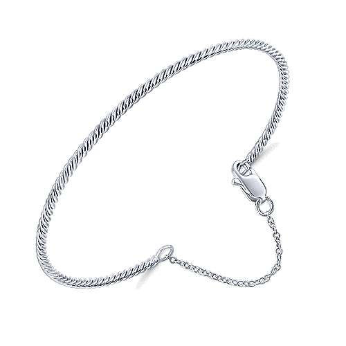 14K White Gold Twisted Bangle with Chain Drop
